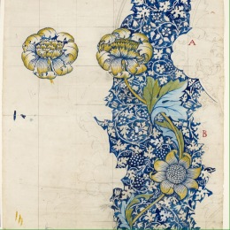 Printed Fabric Design- Kennet By William Morris 1883 Accession number: 1941P404 Pencil, watercolour on paper touched with white. Width: 667 mm, Height: 1011 mm